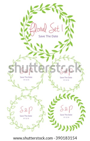 Wedding graphic set, flowers, floral vector element. - stock vector