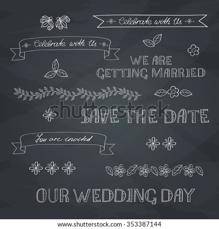 Wedding graphic set, ribbons and labels on blackboard. Outline.  - stock vector