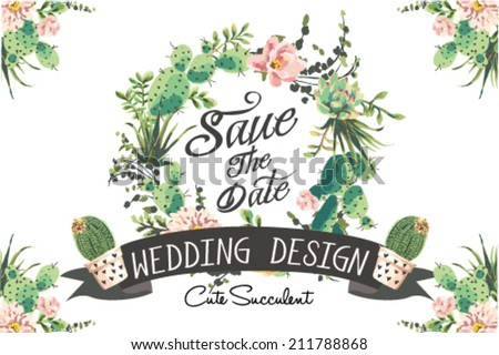 Wedding graphic set with succulents - stock vector
