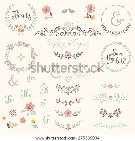 Wedding graphic set with swirls, laurels, wreaths, branches, flowers, birds, butterflies, catchwords and ampersands. - stock vector
