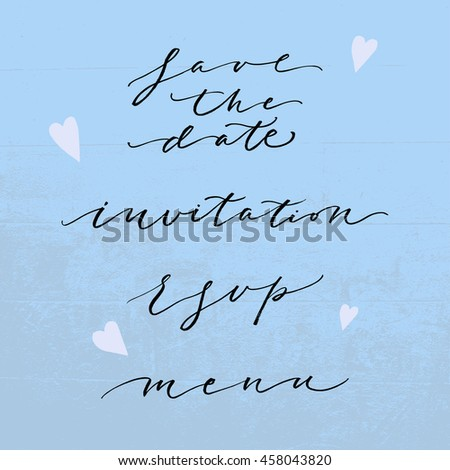 Wedding hand drawn lettering set. Modern calligraphy. Design for poster, card, invitation, stationery. Bride and groom invite guests. Save the date for wedding party. Vector - stock vector