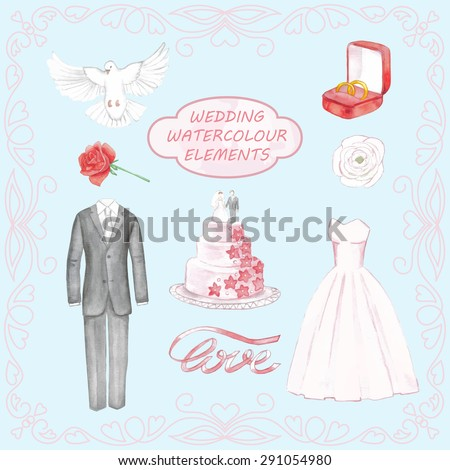 Wedding hand drawn watercolor elements. Vector illustration for cards, posters, invitations, web design - stock vector