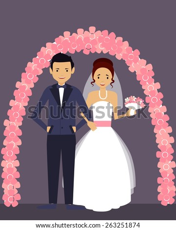 Wedding. Happy groom and bride in white dress. Vector illustration   - stock vector