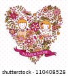 Wedding heart with flowers and birds. The bride and groom. Wedding invitation with a place under the names of the newlyweds. - stock vector