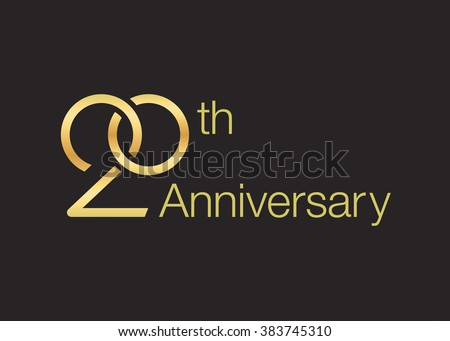 Wedding icon for 20th anniversary. Twisted wedding rings. - stock vector