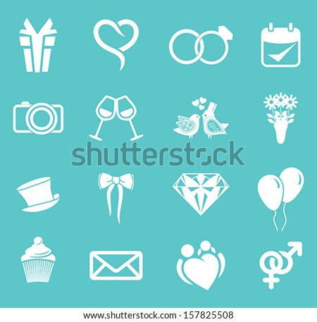wedding icon set - stock vector