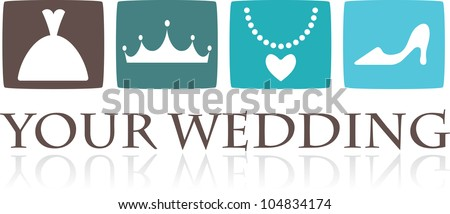 Wedding icons and graphic elements - vector - stock vector