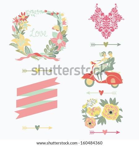 Wedding icons, elements and illustrations - stock vector