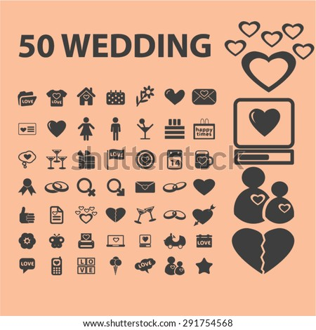 wedding icons, illustrations - stock vector