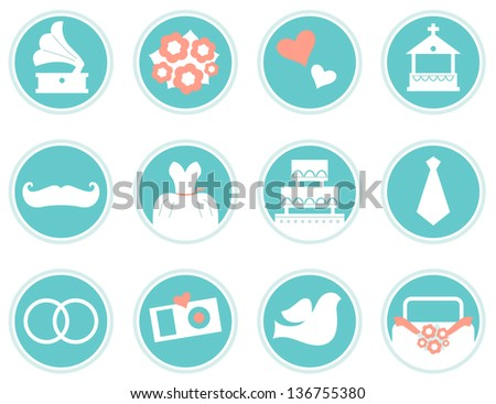 Wedding icons in retro style isolated on white ( blue ) - stock vector