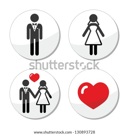 Wedding icons - married couple, groom and bride - stock vector