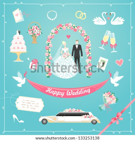 Wedding icons set - stock vector