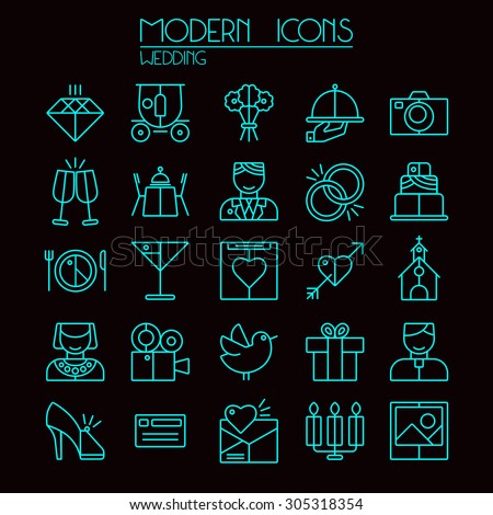 Wedding icons set in thin line style. Neon color on black background - stock vector
