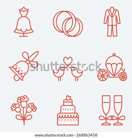 Wedding icons, thin line style, flat design - stock vector