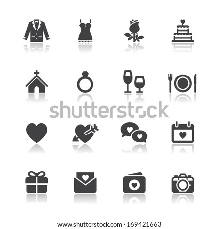 Wedding Icons with White Background