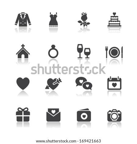Wedding Icons with White Background