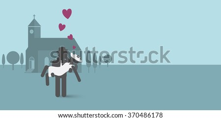 Wedding illustration. Couple in love in front of church. - stock vector