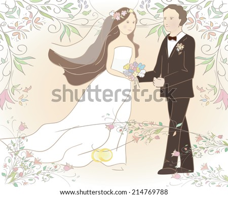 wedding illustration of groom and bride with rings. Can be used as card or invitation. Vector - stock vector