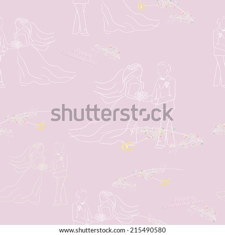 Wedding illustration. Seamless pattern with groom bride and rings. Vector - stock vector