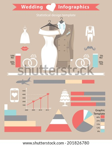 Wedding infographic set.Cute cartoon wedding clothing with wedding icons in flat style .Statistical design template in vector.