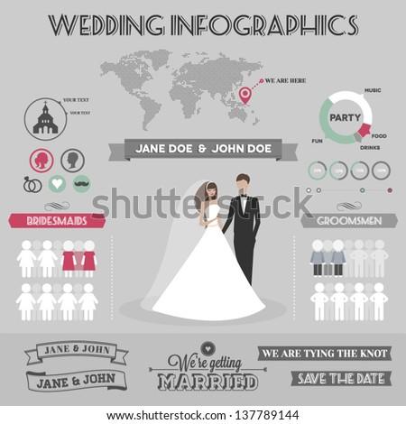 Wedding infographics - stock vector