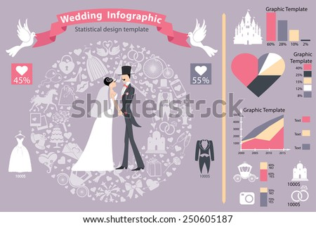 Wedding infographics set.Bride and groom with icons wreath,diagram.Flat Vector  business concepts with icons.Business report or plan ,modern template ,business brochure ,system diagram,web statistic