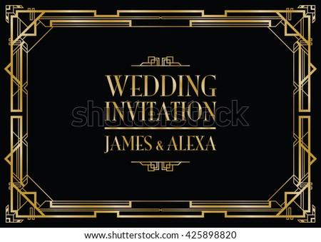 wedding invitation art deco  - stock vector