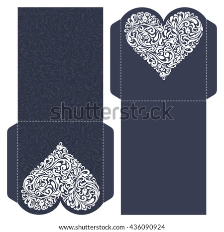 Wedding Invitation Baroque. Template for laser cutting. Open card. The front and rear side. It can be used as an envelope.