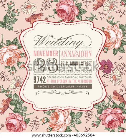 Wedding invitation. Beautiful pink blooming flowers. Vintage greeting card. Frame. Drawing, engraving. Freehand. Chamomile, Rose, wildflowers. Floral. Wallpaper baroque. Vector victorian Illustration. - stock vector