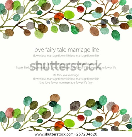 Wedding invitation. Birthday card. Floral frame. Watercolor background with flowers. - stock vector