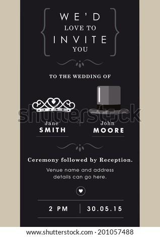 Wedding invitation black and grey theme - stock vector
