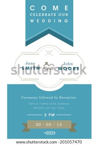 Wedding invitation blue ribbon theme - stock vector