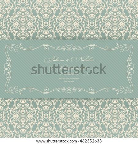 Wedding invitation card Baroque green and beige.
