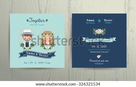 Wedding invitation card beach theme cartoon bride and groom portrait on wood background