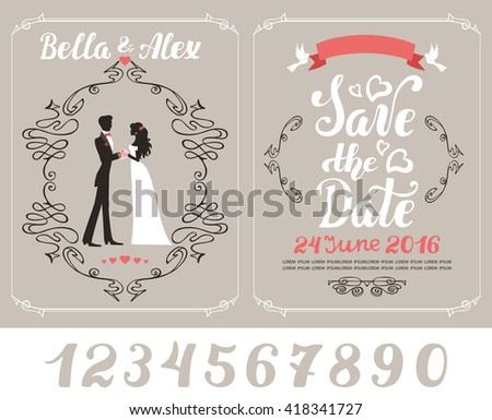 Wedding invitation card.Bride,groom couple.Vintage vector background,wedding Swirls decor,ribbon,pigeon.Handwriting text,number.Wedding illustration.Retro Wedding invite flyer. Wedding poster, fashion
