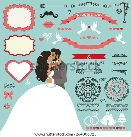 Wedding invitation card decor set.Cartoon kissing couple bride and groom.Swirling borders ,brushes,ribbon, wreath,icons,heart,label.Design template kit,save date card.Vintage Vector Illustration,flat.