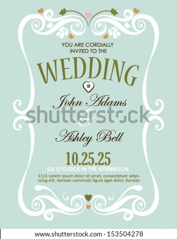 Wedding Invitation Card Design in Vector with Border - stock vector
