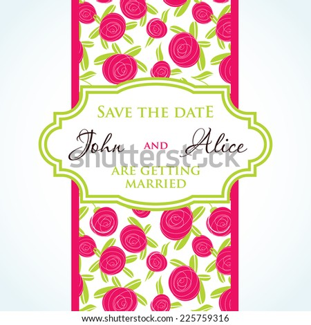 Wedding invitation card design rose flowers stock vector 225759316 wedding invitation card design with rose flowers and floral elements stopboris Gallery