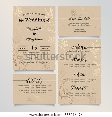 Wedding invitation card details card save stock vector 558216496 wedding invitation card details card save the date card menu card wedding stopboris Choice Image