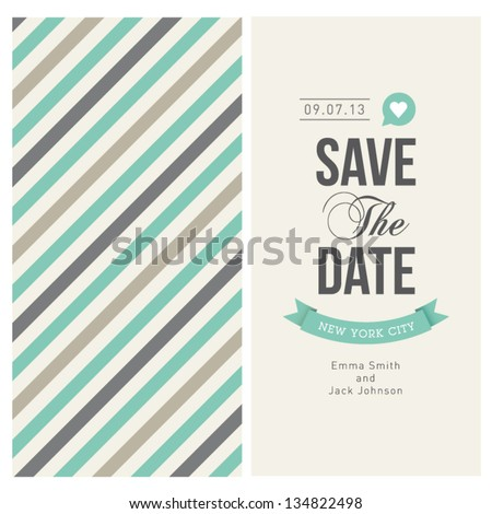 wedding invitation card editable with background chevron, font, type, ribbons and heart vector