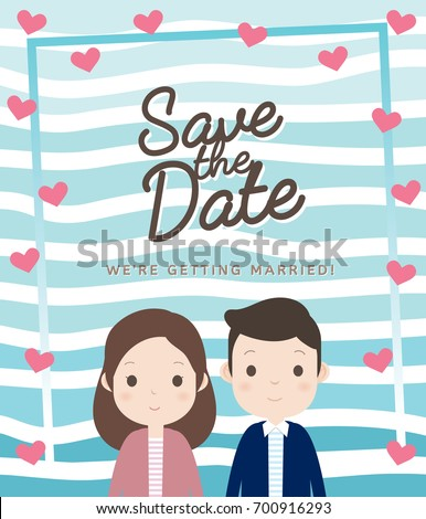 Wedding invitation card layout cute couple stock vector royalty wedding invitation card layout with cute couple smiling summer background blue stripe free hand stopboris Images