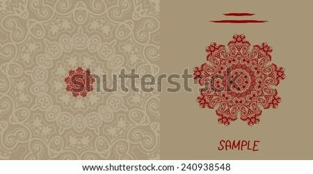 Wedding invitation card liginoru style design, tribal indian henna brown invitation card - stock vector