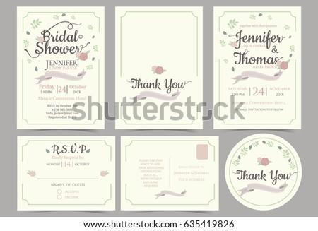 Wedding invitation card minimalist style bridal stock vector wedding invitation card minimalist style bridal shower card rsvp card thank you sticker stopboris Images