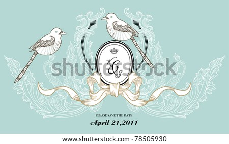 wedding invitation card or any card use - stock vector