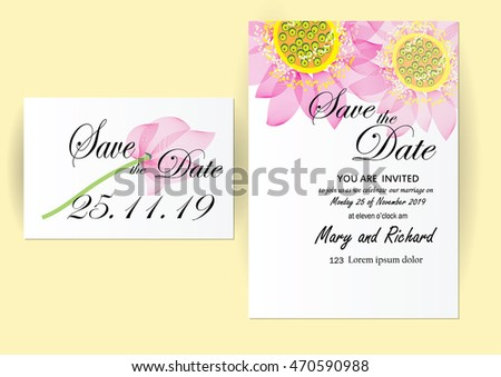 wedding  invitation card pink water lily