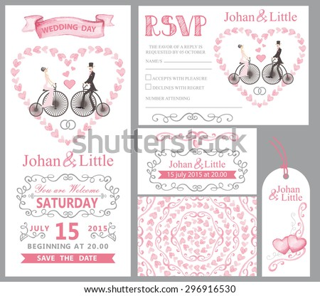 Wedding invitation card set.Couple bride,groom,retro bike,Watercolor Pink hearts, ribbons,grey swirling borders,frames decor,arrows,text. Tag,RSVP,Thank you,save the date.Cute artistic vector  - stock vector