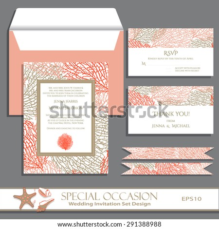 Wedding invitation card set design. Invitation, thank you card, RSVP. Vector invitation card with Coral pattern. Greeting card for Special Occasions on wood. Editable eps10 contains the pattern swatch - stock vector