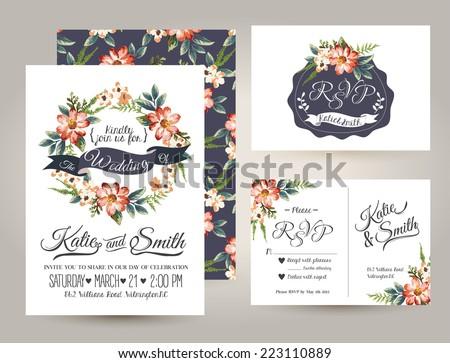 wedding invitation card suite daisy flowerのベクター画像素材