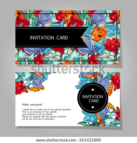 Wedding invitation card suite with flowers background - stock vector