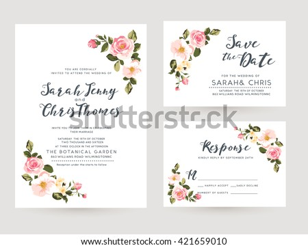 wedding invitation card suite with tiny romantic floral Templates - stock vector